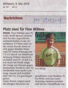 Finn Wilmes wurde 2. Kreismeister bei den U9